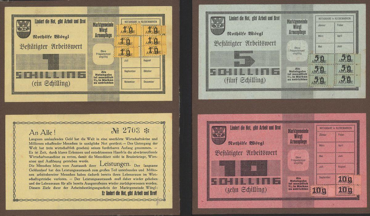 Wörgler Freigeld: Arbeitswertscheine im Wert von 1, 5 und 10 Schilling. Foto: Unterguggenberger Institut Archiv