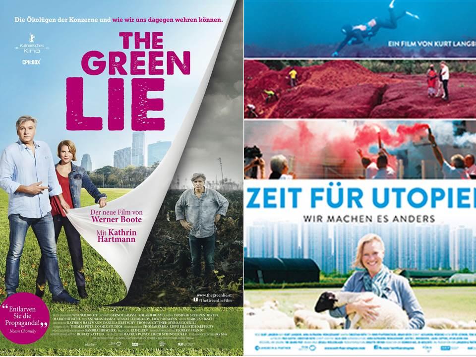 """Filmvorschau Herbst 2018: """"Die Grüne Lüge"""" von Werner Boote und """"Zeit für Utopien"""" von Kurt Langbein. Foto: https://www.skip.at/film/26482/ und http://www.zeit-fuer-utopien.com/"""