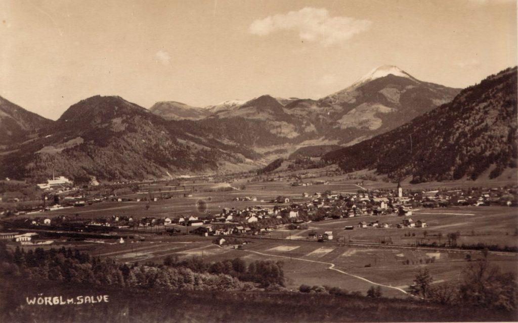 Wörgl in den 1930er Jahren, Blickrichtung Hohe Salve - Brixental. Foto: Haselberger