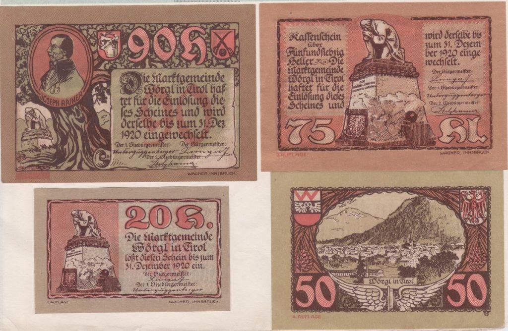 Wörgler Notgeld von 1920 mit der Unterschrift des 1. Vizebürgermeisters Michael Unterguggenberger. Foto: Unterguggenberger Institut Archiv