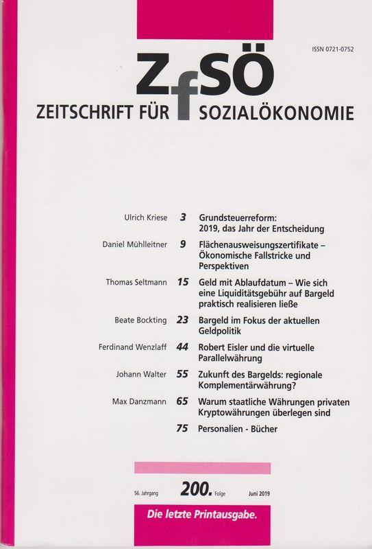 Cover der Zeitschrift für Sozialökonomie Juni 2019 - letzte Printausgabe. Grafik: Sozialwissenschaftliche Gesellschaft 1950 e.V.