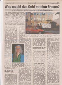 Pressebericht über die Tagung VerGeld´s Gott 1996.