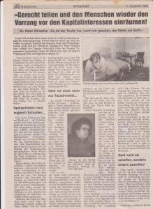 Pressebericht in der Wörgler und Kufsteiner Rundschau über die Tagung VerGeld´s Gott 1996.