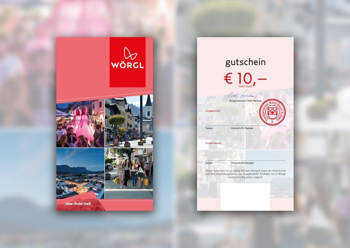 Wörgl Gutschein im Wert von 10 Euro. Bildnachweis: Stadtmarketing Wörgl GmbH