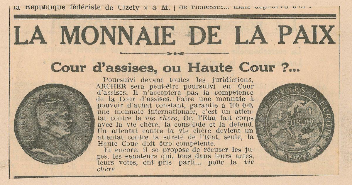 """""""Die Europa"""", abgebildet in der Zeitung """"Le Fédériste"""" 1933."""