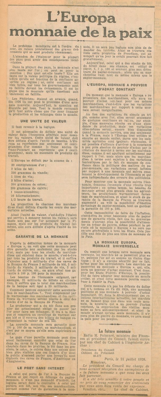"""Beitrag über """"Die Europa"""" in der Zeitung """"Le Fédériste"""" 1933."""