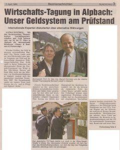 Bericht über die Tagung Money Business & Partnership 1999 in Alpbach in der Wörgler & Kufsteiner Rundschau.