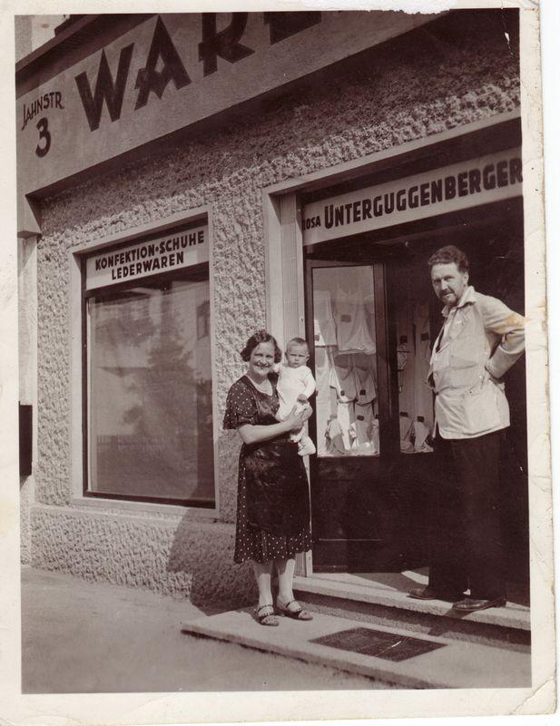 Rosa Unterguggenberger mit dem jüngsten Sohn Silvio am Arm und der Dichter Ezra Pound im Jahr 1935. Foto: Unterguggenberger Institut Archiv