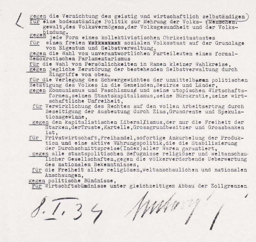 Michael Unterguggenbergers politisches Programm. Foto: Unterguggenberger Institut Archiv